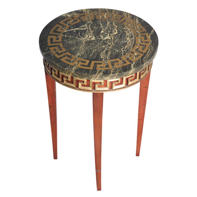 Greek Key Carved Accent Table - Image 1 of 10