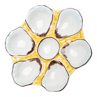 Oyster Plate, Ceramic Round, Canary Yellow For Sale