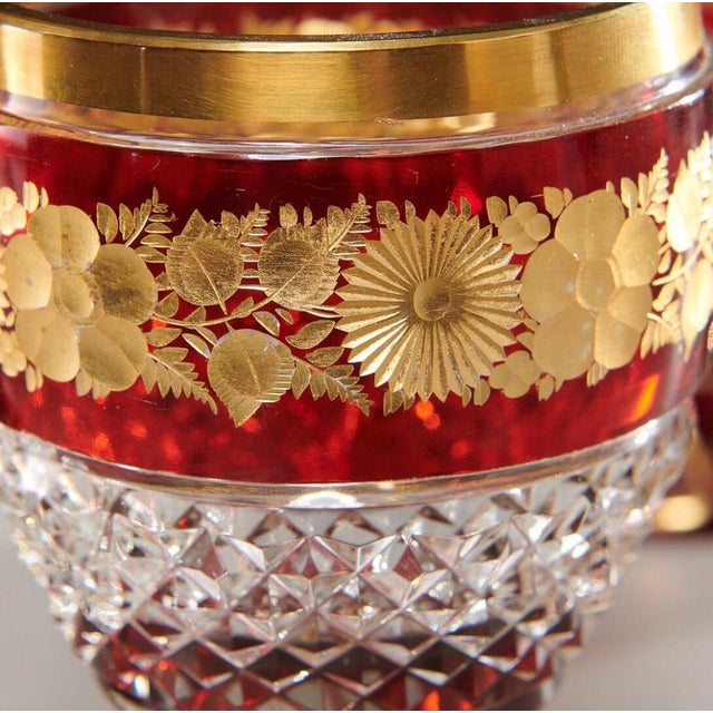 Late 19th Century Ruby & Parcel-Gilt Bohemian Glasses - Set of 12 For Sale In New York - Image 6 of 8