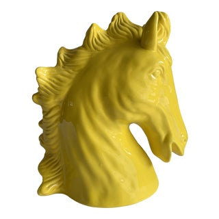 Pop Art Yellow Ceramic Decor Horse Head For Sale