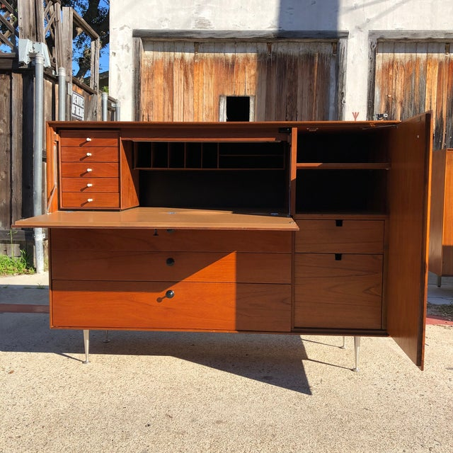 Metal 1960s Mid Century Modern George Nelson Herman Miller Thin Edge Secretary Desk For Sale - Image 7 of 13