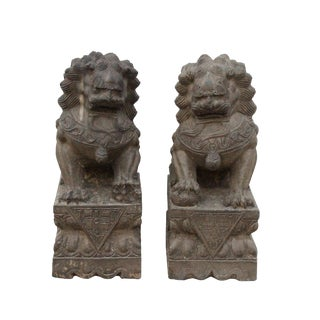 Chinese Pair Distressed Brown Gray Stone Fengshui Foo Dogs Statues For Sale