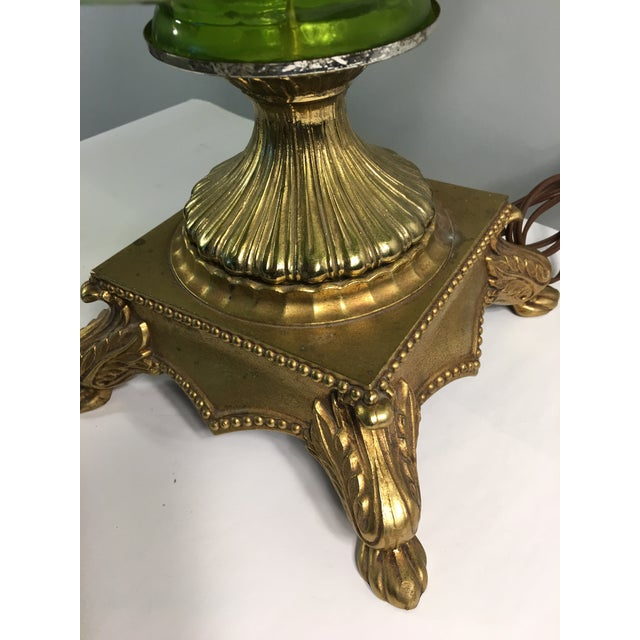 Hollywood Regency Gold & Green Glass Floral Table Lamp - Image 8 of 11
