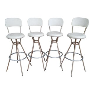 1950s Mid-Century Modern Cosco Swivel Bar Stools - Set of 4
