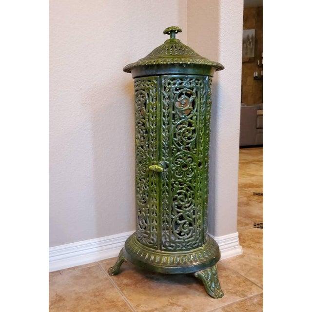 Decorative French Art Nouveau Enameled Cast Iron Antique Parlor Heater Stove For Sale - Image 11 of 11