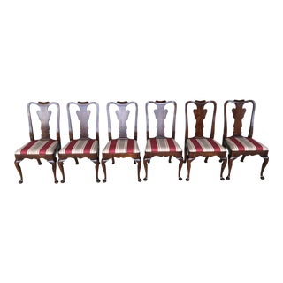 Vintage Mid Century Statton Old Towne Finish Cherry Side Chairs - Set of 6