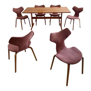 "1950s Mid-Century Danish Modern Teak ""Grand Prix"" Dining Set - 7 Pieces For Sale"