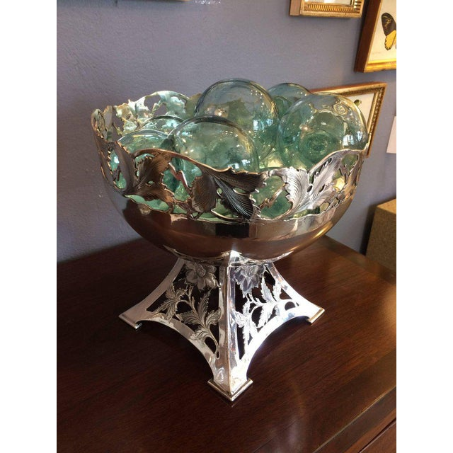 Vintage Silver Plate Compote & Aqua Floats - Set of 11 For Sale In Philadelphia - Image 6 of 8