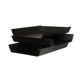 Knoll Mid Century Modern Set 3 Black Molded Plywood Paper Trays For Sale