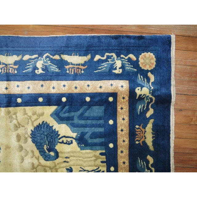 Antique Chinese Pictorial Elephant Rug, 4'9'' X 7'8'' For Sale - Image 11 of 13