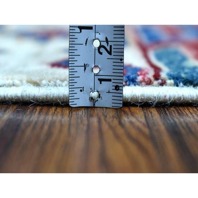 2010s Khorjin Design Runner Blue Kazak Tribal Pure Wool Hand Knotted For Sale - Image 5 of 7