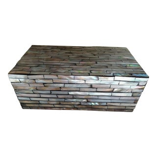 """Vintage Tessellated 8.75"""" Abalone Mother of Pearl Wooden Box For Sale"""
