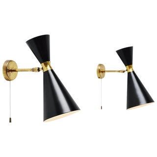 Pair of Stilnovo Diabolo Black & Brass Sconces For Sale