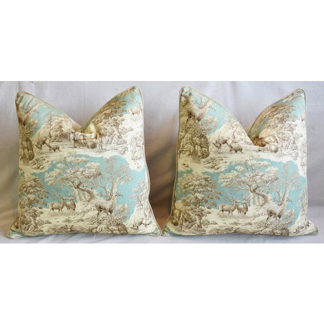 "Woodland Toile Deer & Velvet Feather/Down Pillows 25"" Square - Pair For Sale In Los Angeles - Image 6 of 13"