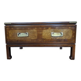 Knob Creek Asian Style/Campaign Burlwood Low End Table For Sale