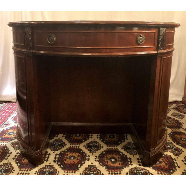 Late 19th Century Antique English Mahogany Round Writing Desk, Circa 1880. For Sale - Image 5 of 5