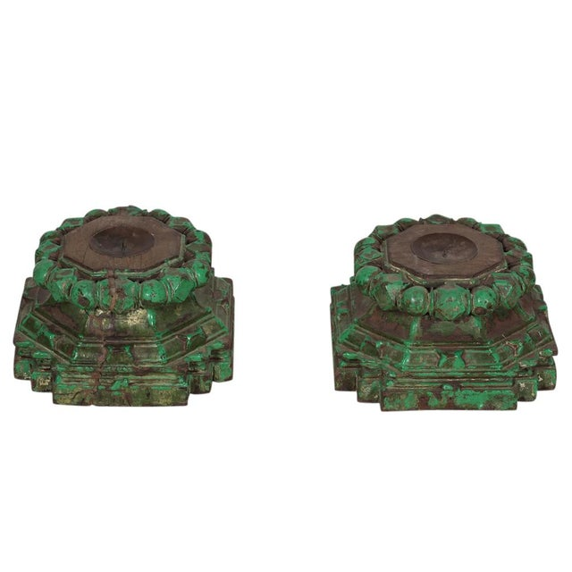 Hand-Chiseled Green Candleholders - A Pair - Image 3 of 3