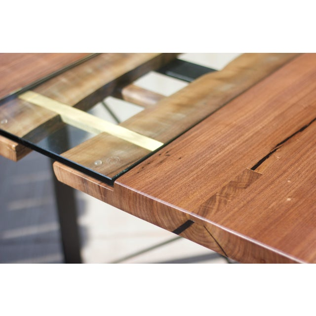 Brass Claro Walnut Slab Dining Table With Solid Brass Inlays + Glass River Center Display For Sale - Image 7 of 11