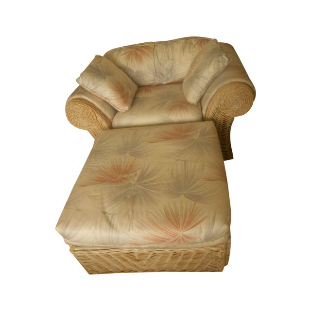 Custom Palm Beach Regency Bamboo Lounge & Ottoman - Image 1 of 8