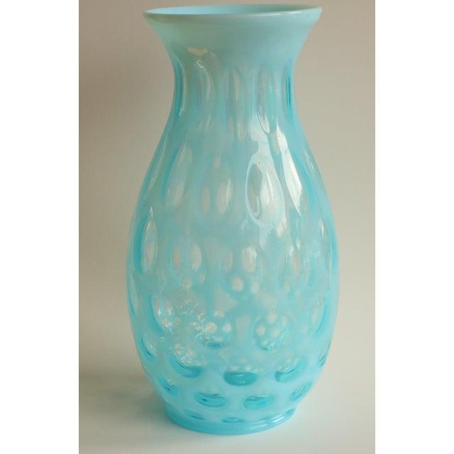Art Glass Blue Opalescent Coin Dot Art Glass Vase For Sale - Image 7 of 8