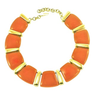 Valentino Burnt Orange Lucite and Gilt Metal Necklace For Sale