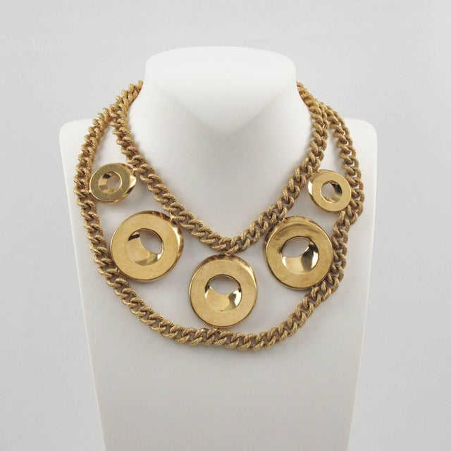 Contemporary Julie Borgeaud for Imai Large Gilt Metal Geometric Choker Necklace For Sale - Image 3 of 10