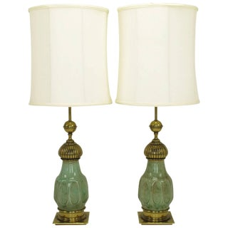 Pair of Stiffel Crackle Glaze Ceramic and Brass Moorish Style Table Lamps For Sale