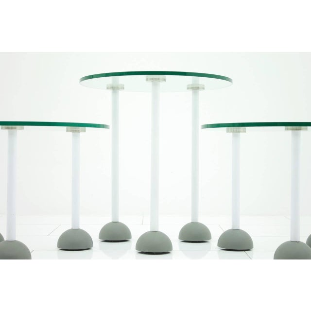 Set of Three Glass Tables With Wheels, Memphis, 1987 For Sale - Image 6 of 6