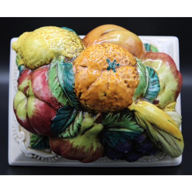 Art Nouveau Italian Ceramic Fruit Lidded Box For Sale - Image 3 of 11