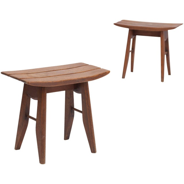 French Pair of Oak Tabourets by Guillerme & Chambron for Votre Maison For Sale - Image 3 of 3