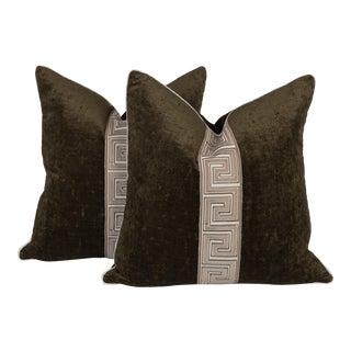 Moss Green Velvet Greek Key Pillows - a Pair For Sale