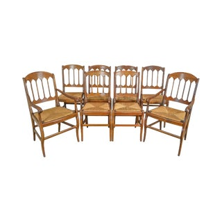 French Country Antique Set of 8 Cherry Rush Seat Dining Chairs For Sale