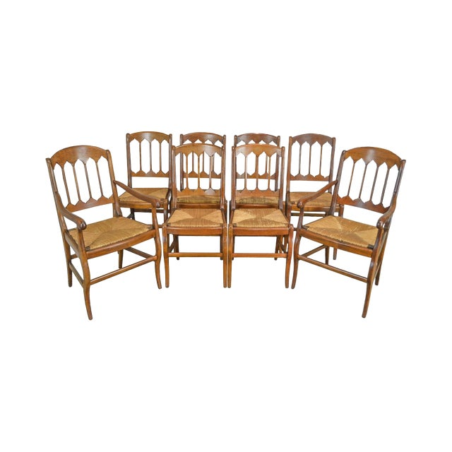 French Country Antique Set of 8 Cherry Rush Seat Dining Chairs - French Country Antique Set Of 8 Cherry Rush Seat Dining Chairs