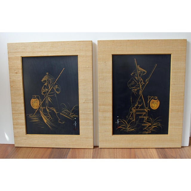 1960s Japanese Brush Paintings - A Pair - Image 2 of 6