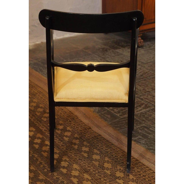 Yellow Set of Eight Ebonized Dining Chairs, Regency Style, circa 1920 For Sale - Image 8 of 10