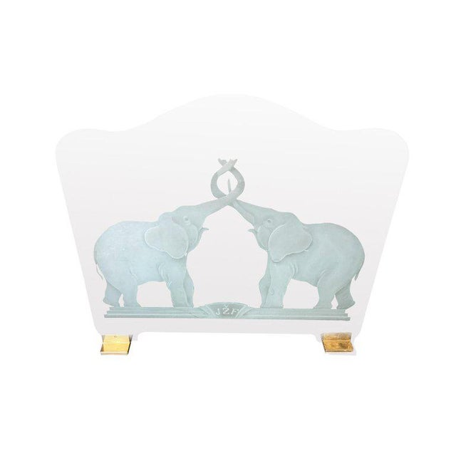 """Modern Brass and Etched Elephant """"Lovers"""" Glass Fireplace Screen For Sale - Image 3 of 4"""