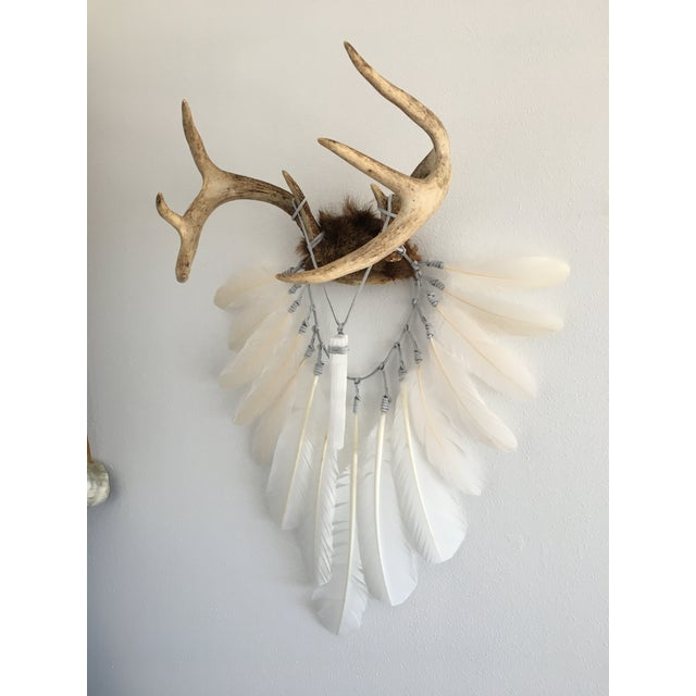 Cream & White Feathers With Selenite Crystal on Deer Antlers - Image 4 of 4