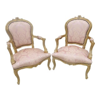 Louis XV Gold Gilt Carved Arm Chairs - A Pair
