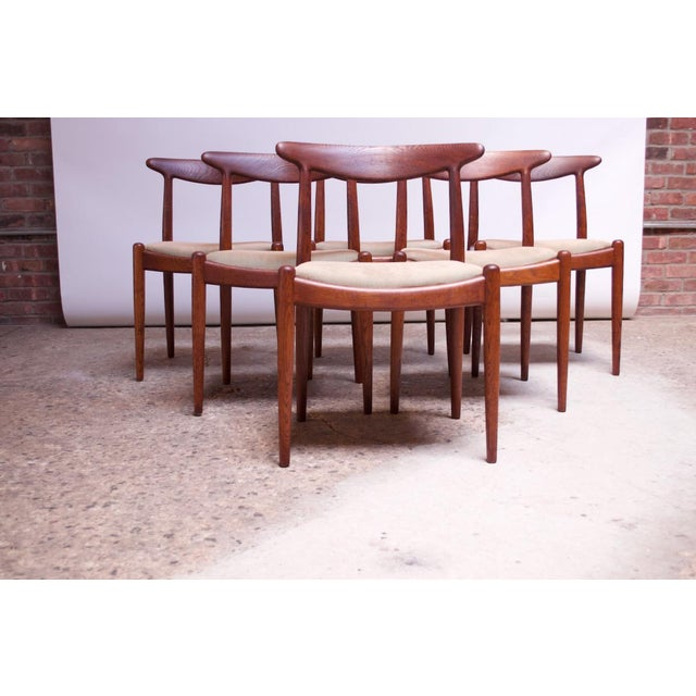 Set of six dining chairs designed in 1953 by Hans Wegner and manufactured by C.M. Madsen in Denmark. Organic, sculptural-...