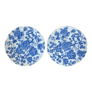 "Johnson Bros ""English Chippendale Blue"" Floral Chintz Plates - a Pair For Sale"