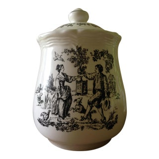 Tabletop Unlimited New England Toile Black Game Birds Canister Jar For Sale