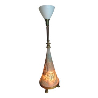 Vintage Torchiere Floor Lamp With Lighted Base
