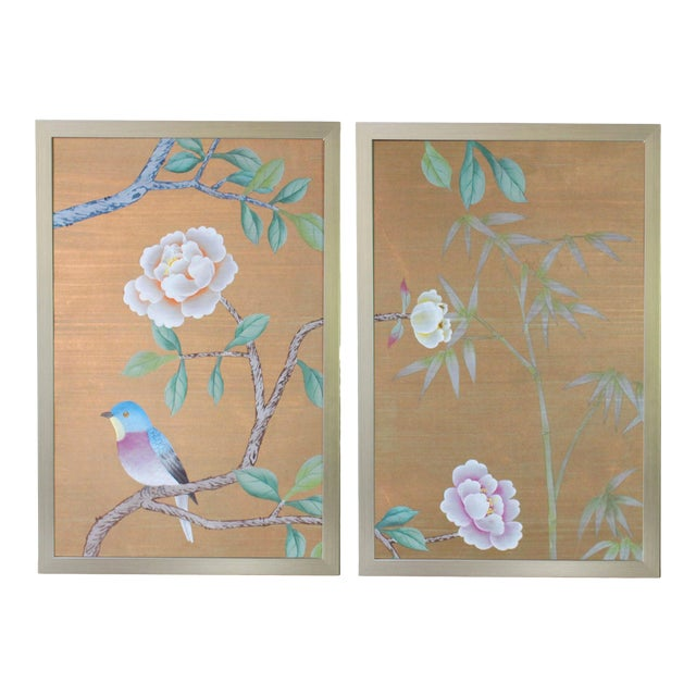 Vintage Hand-Painted Chinoiserie Wallpaper Remnant Diptych Rendered on Copper Silk - 2 Pieces For Sale