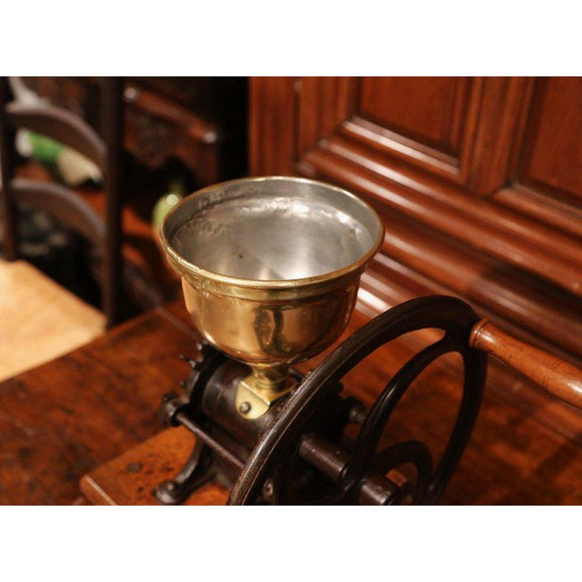 Large 19th Century French Walnut Iron and Brass Coffee Grinder For Sale - Image 9 of 11