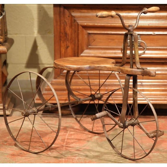 Children's 19th Century French Iron and Wood Tricycle in Wonderful Working Condition For Sale - Image 3 of 8