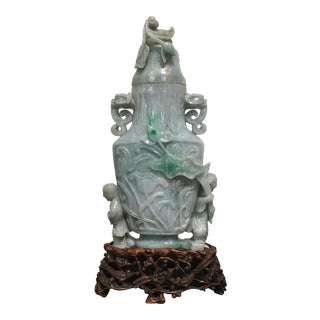 Large Chinese Republic Period Covered Jadeite Vase For Sale