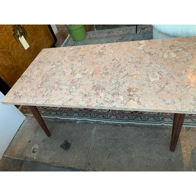Mid 20th Century Mid-Century Modern Pink Marble Coffee Table For Sale - Image 5 of 12