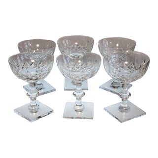 Hawkes Crystal Champagne Glasses Cornwall Pattern Square Base Signed - Set of 6 For Sale