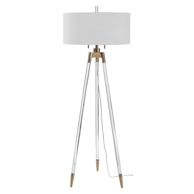 Lucite and Brass Tripod-Style Floor Lamp with White Shade For Sale In Sacramento - Image 6 of 8