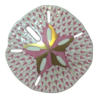 Herend Pink & Gold Sand Dollar
